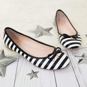 Kate Spade Willa flats black and white stripes bow
